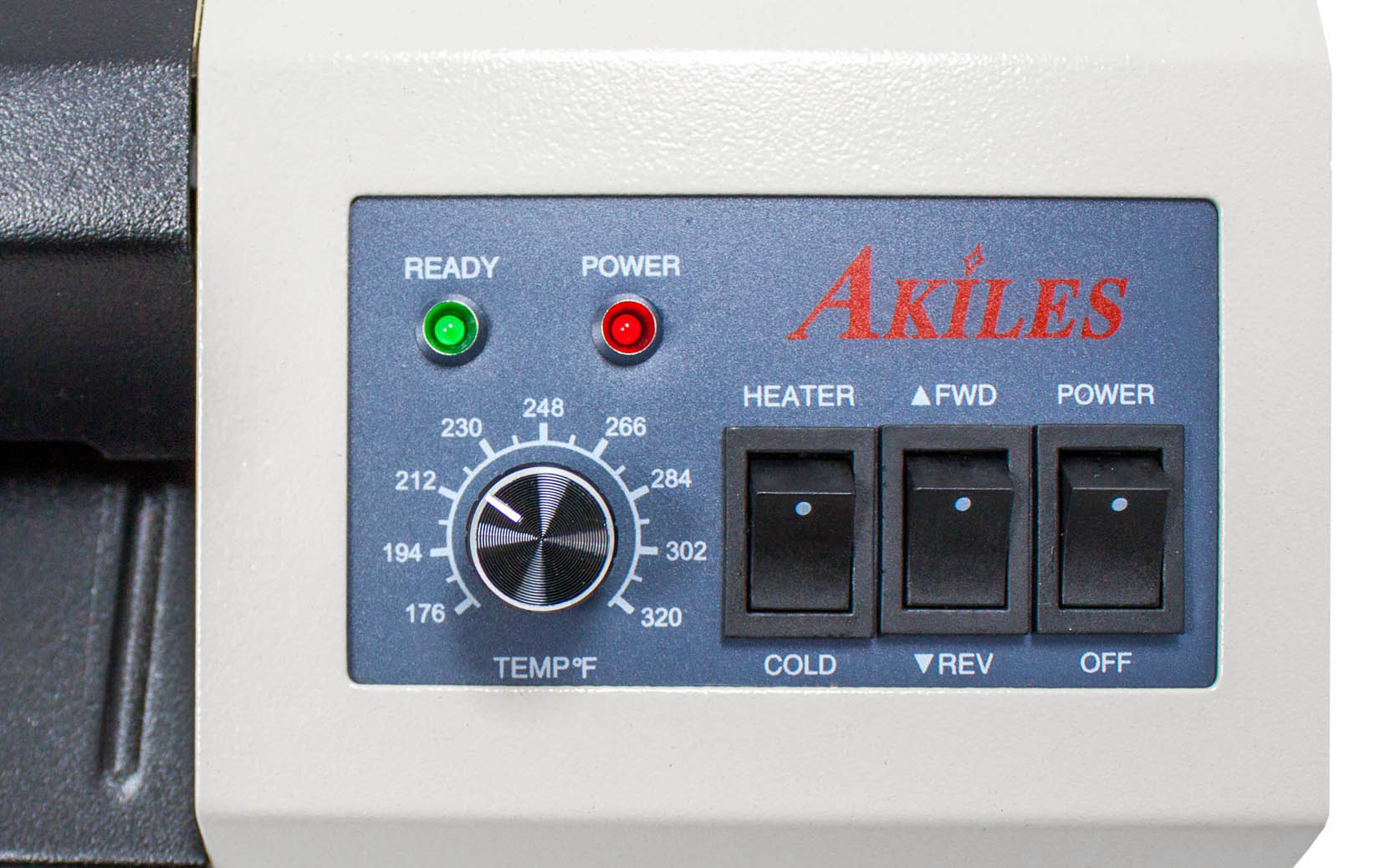 Akiles pouch laminator Prolam plus controls detail